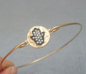 Hamsa Hand Bangle Bracelet Style 3