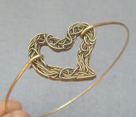 Wire Heart Bangle Bracelet