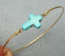 Turquoise Cross Brass Bangle Bracelet