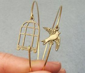 Bird and Cage Bangle 2 Bracelet Set