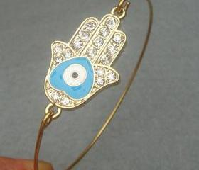 Hamsa Hand Bangle Bracelet Style 9