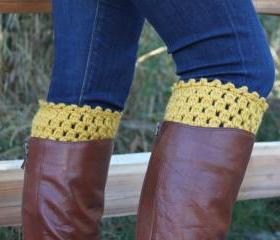 Crochet Boot Cuffs Leg Warmers Boot Socks Mustard