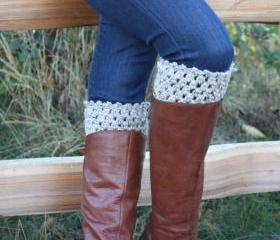 Crochet Boot Cuffs Leg Warmers Boot Socks Oatmeal