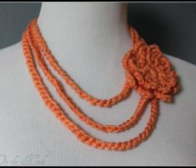 Layered Necklace Orange Cream Flower Brooch Chain Crochet Necklace