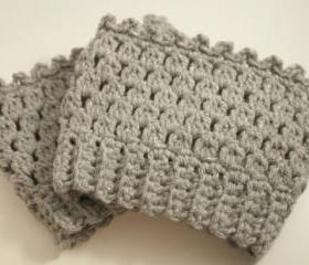 Crochet boot cuffs leg warmers boot socks gray and silver