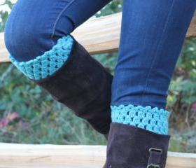 Crochet Boot Cuffs Leg Warmers Boot Socks Turquoise