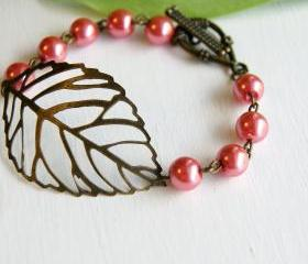 Pink Brass Leaf Bracelet 
