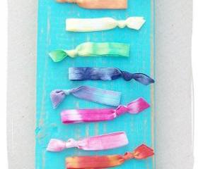 6 Tie Dye Hair Ties, The Rainbow Set by Lucky Girl