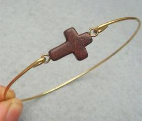 Brown Turquoise Cross Bangle Bracelet