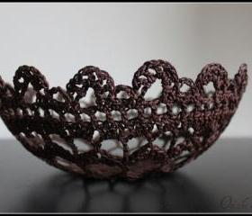 Lace Doily Bowl Crochet Basket Chocolate Brown