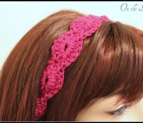Crochet Headband Hair Tie Magenta
