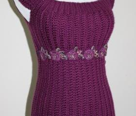 Womens Crochet Sweater Dress Baby Doll Dress MAgenta