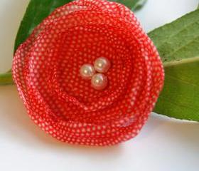 Light Red and White Polka Dot Hair Clip