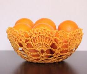 Crochet Lace Doily Bowl Basket Golden Yellow
