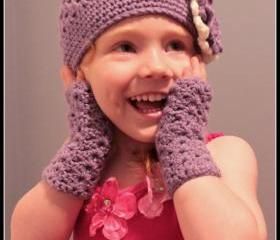Crochet Flower Hat and Fingerless Glove Set