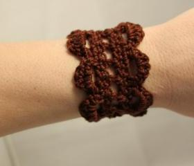 Crochet Bracelet Lace Cuff Chocolate Brown