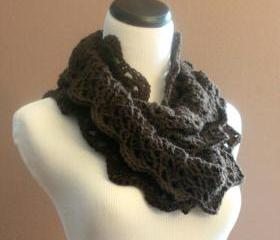 Chunky Crochet Infinity Scarf Lace Thick Cowl Neckwarmer Scarf Espresso Brown