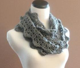 Infinity Scarf Chunky Crochet Lace Thick Cowl Neckwarmer Scarf Snood Smokey Grey