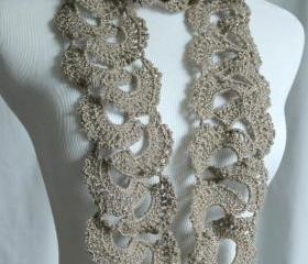 Crochet Scarf Queen Annes Lace Scarf Silver Taupe