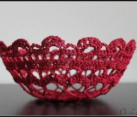 Crochet Lace Bowl Doily Basket Crimson Red