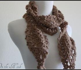 Chunky Scarf Crochet Pineapple Lace Motif Mocha Brown