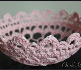 Lace Doily Bowl Crochet Basket Pink