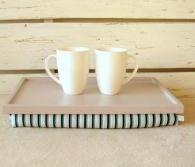 Laptop Lap Desk or Breakfast serving Tray - Grey Striped- Custom Order