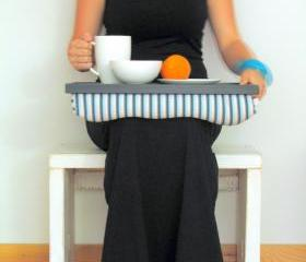 Laptop Lap Desk or Breakfast serving Tray - Black with Aqua and Grey stripes- Custom Order