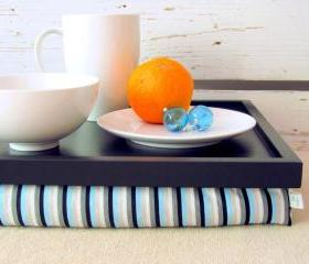 Wide - XL size - Laptop Lap Desk or Breakfast serving Tray - Black with Aqua and Grey stripes- Custom Order