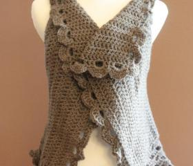 Boho Crochet Sweater Cardigan Vest Taupe
