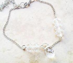 Adjustable crystal drop bracelet