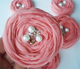 Peachy Pink Fabric Roses Handmade Appliques Embellishments(5 pcs)