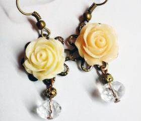 Cute cabochon flower rose swarovski crystal bronze vintage look earrings- luxe gift