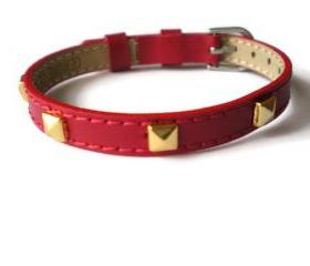 Red Genuine Leather Bracelet - Gold Pyramid Studs - 8mm Red Leather Strap - Adjustable