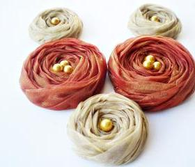 Fall Collection 'Mustard & Brown' Chiffon Roses Handmade Appliques Embellishments(5 pcs)