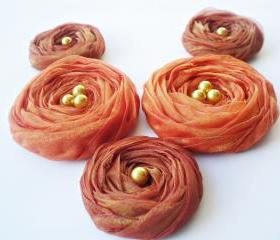  Fall Collection 'Brown & Orange' Chiffon Roses Handmade Appliques Embellishments(5 pcs)