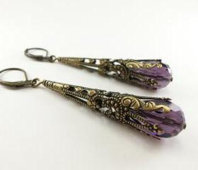 Amethyst Earrings Long Dangle Earrings Steampunk Victorian Jewelry February Birthstone