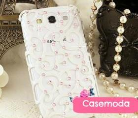 New Bling White Relief Rhinestones Samsung Galaxy S3 i9300 Case