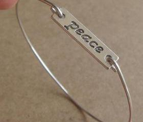 Peace Bangle Bracelet, Simple Everyday Jewelry, Elegant gift, Bridesmaid Gift, Bridal Wedding Jewelry