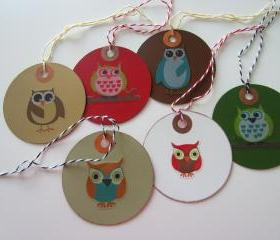 Set of 6 Owl Gift Tags
