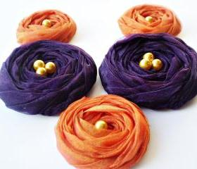 Fall Collection 'Orange & Purple' Chiffon Roses Handmade Appliques Embellishments(5 pcs)