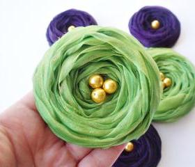 "Fall Collection ""Purple & Green"" Chiffon Roses Handmade Appliques Embellishments(5 pcs)"