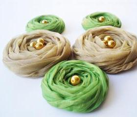  Fall Collection 'Green & Mustard' Chiffon Roses Handmade Appliques Embellishments(5 pcs)
