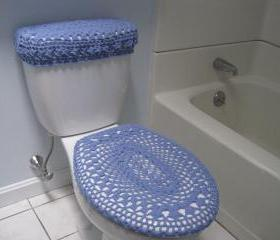 Set of 2 Crochet Covers for Toilet Seat & Toilet Tank Lid, Cozies - blue bell (TSTTL9)