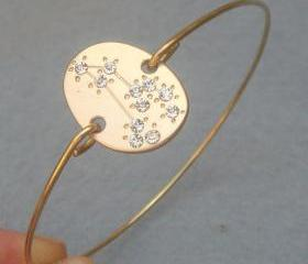 Leo -personalized Zodiac Constellation bangle bracelet - July August Birthday