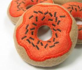 Pumpkin Frosted Donut with Sprinkles Catnip Cat Toy