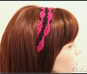 Crochet Headband Black and Magenta