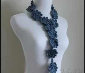 Crochet Flower Scarf Lariat Spring Fashion Slate Blue