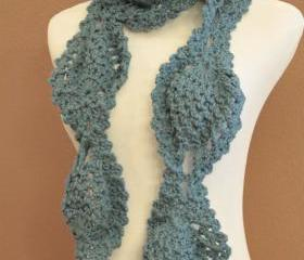 Crochet Scarf Chunky Lace Pineapple Motif Slate Blue