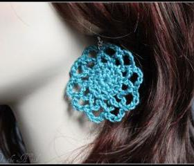 Crochet Earrings Teal Lace Doily Motif Spring Fasion